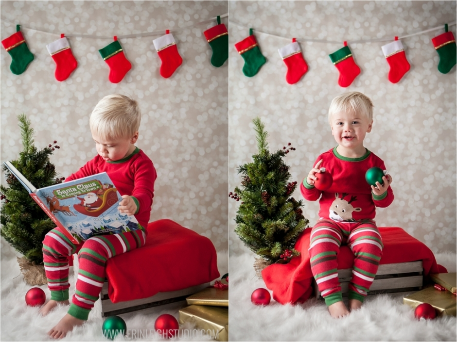 Christmas photo of kid reading book Olathe Photographer