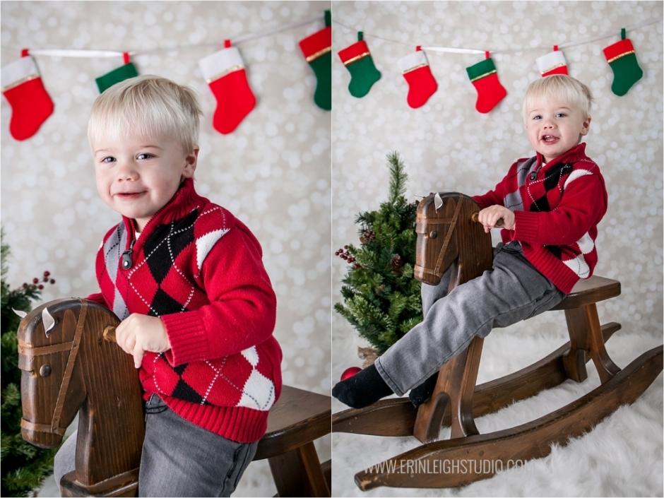 Christmas Photos on Rocking Horse Olathe Photographer